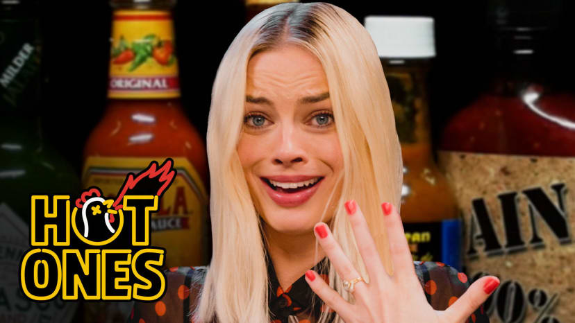 Margot Robbie Pushes Her Limits While Eating Spicy Wings | Hot Ones