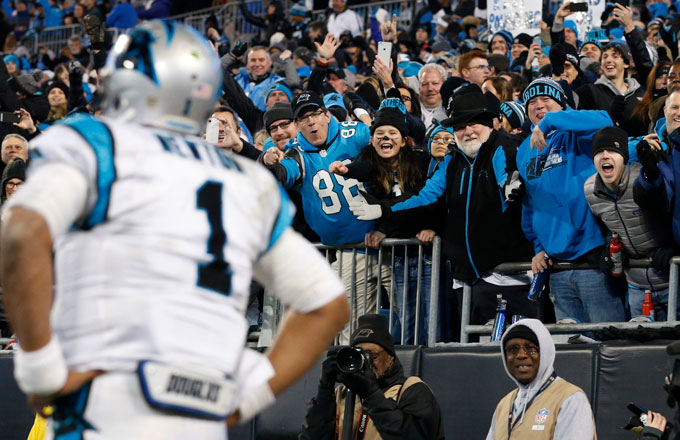41bb8b7407ab9 The crowd reacts to Cam Newton during the 2016 NFC Championship Game.