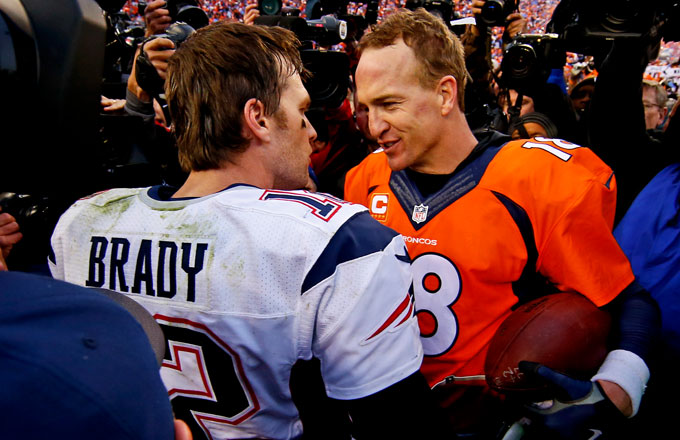 Peyton Manning and Tom Brady talk following the 2016 AFC Championship Game.
