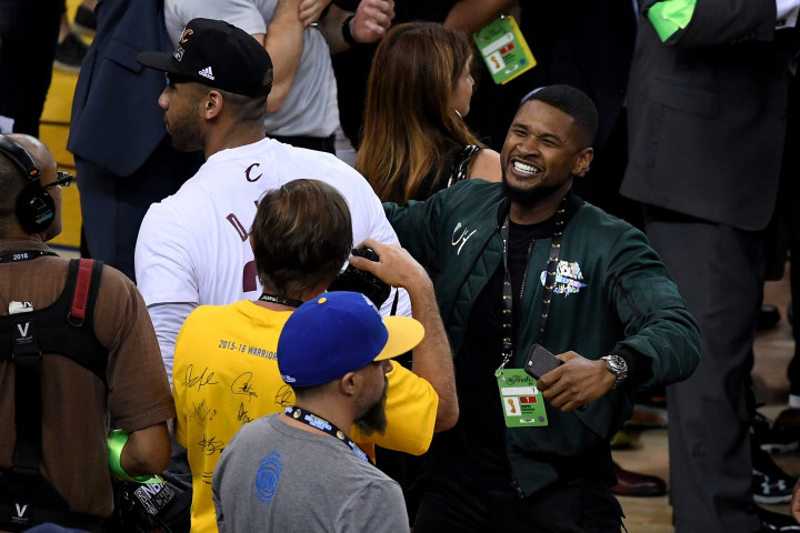 Usher at Oracle Arena during Game 7 of 2016 NBA Finals