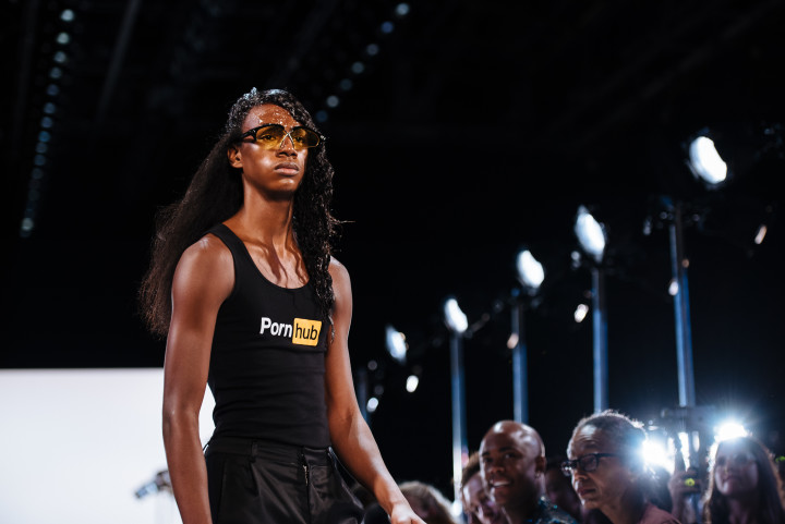 Hood By Air's Spring/Summer 2017 runway show sponsored by Pornhub.