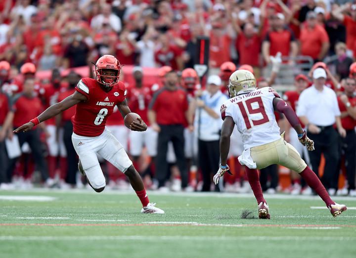 Louisville quarterback Lamar Jackson against Florida State