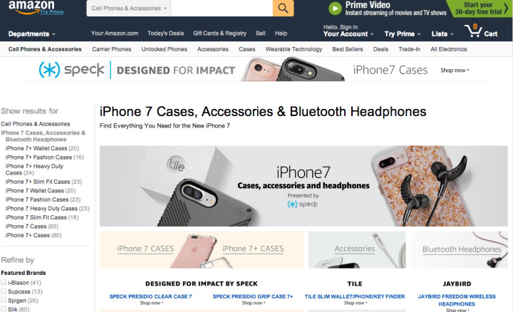 Screenshot of Amazon.com