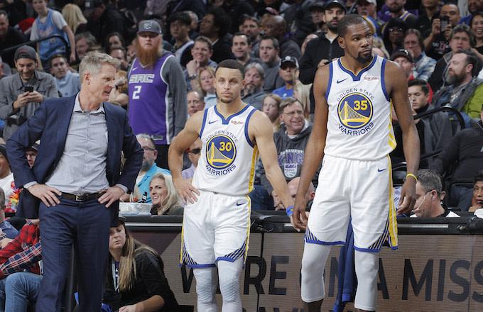 Steve Kerr, Steph Curry, Kevin Durant