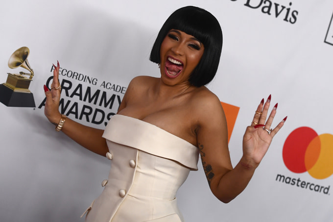 Cardi B arrives for the traditionnal Clive Davis party on the eve of the 60th Annual Grammy Awards