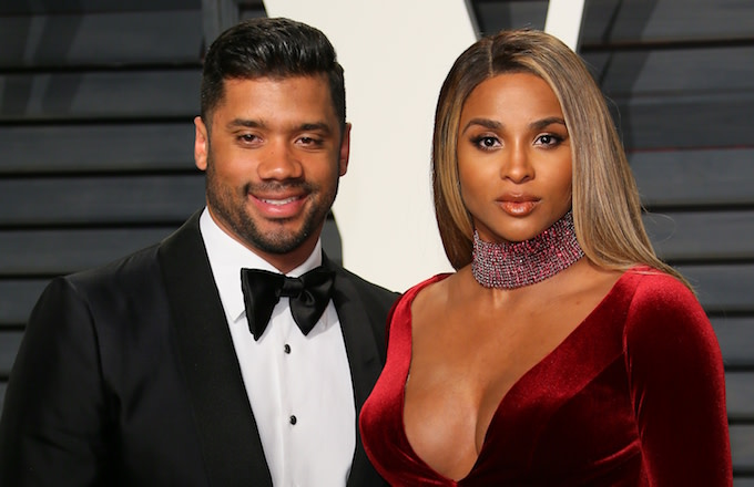 Ciara and Russell Wilson at the 2017 Vanity Fair Oscar Party.