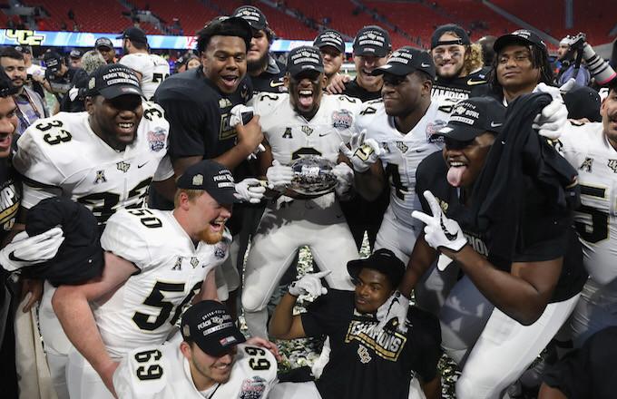 UCF celebrates their Peach Bowl victory.