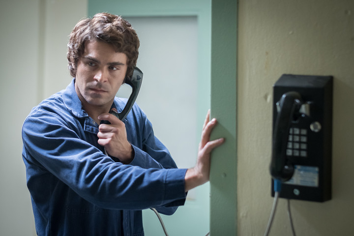Zac Efron in production still from Extremely Wicked Shockingly Evil and Vile on Netflix