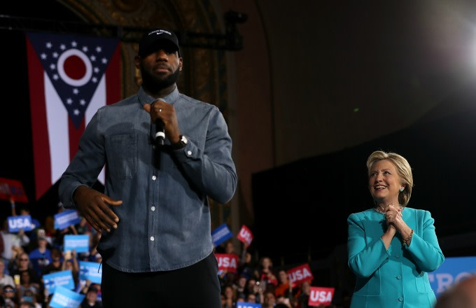 LeBron James appears at a Hillary Clinton rally in Ohio.