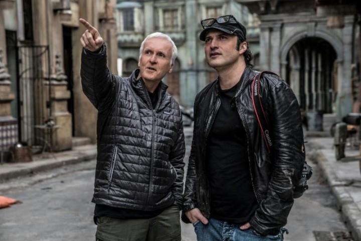 James Cameron and Robert Rodriguez on the set of 'Alita: Battle Angel'