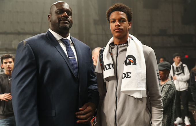 Shaquille and Shareef O'Neal at the Jordan Brand Future of Flight Showcase.