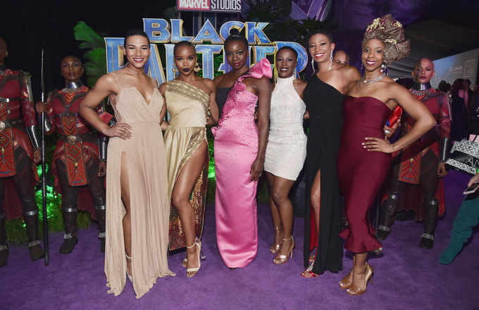 Danai Gurira and 'The Dora Milaje' actors at the Los Angeles World Premiere of Black Panther