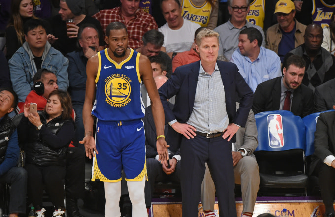 Kevin Durant #35 and Head Coach Steve Kerr