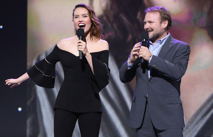 Daisy Ridley and Rian Johnson at a 'Star Wars' event.