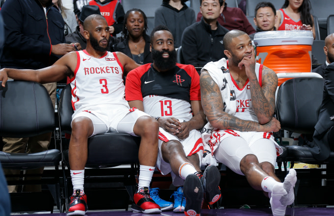 Houston Rockets seen on the bench during the game against the Sacramento Kings