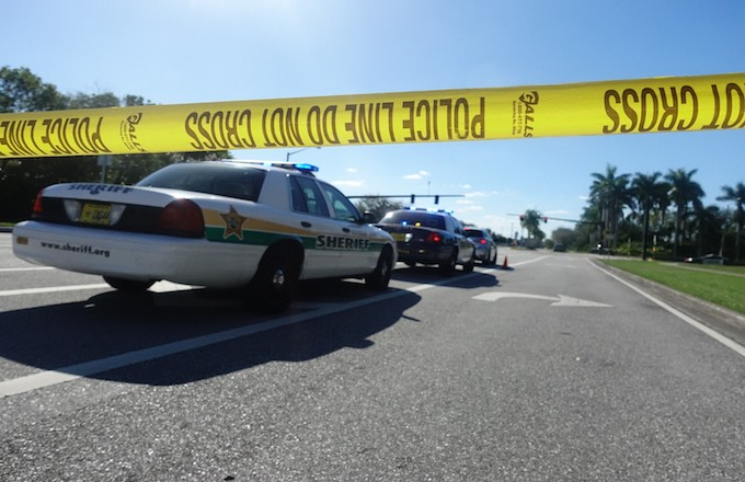 Police cordon off the area after the school shooting