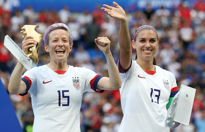 Megan Rapinoe and Alex Morgan of USA during the trophy ceremony