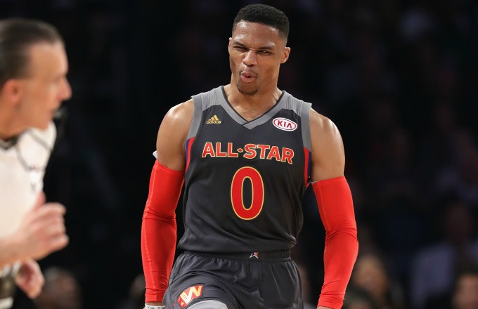Russell Westbrook reacts to a play in the NBA All-Star Game.