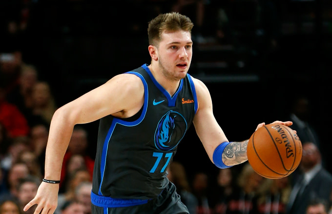 Luka Doncic of the Dallas Mavericks in action against the Portland Trail Blazers
