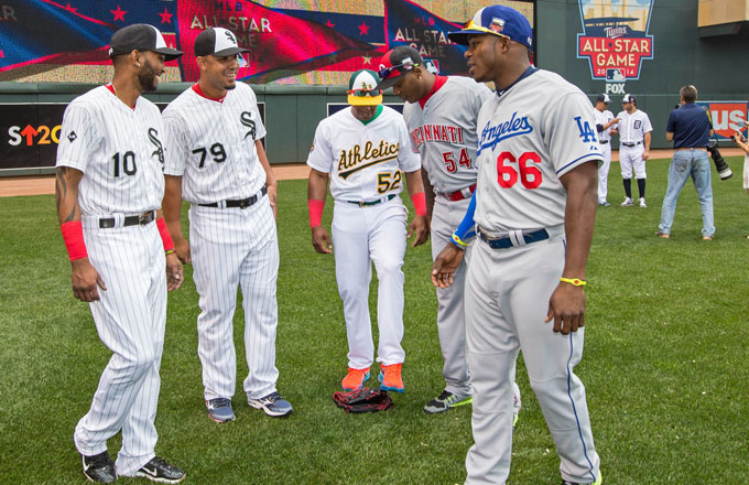 A collection of Cuban-born players at the 2014 MLB All-Star Game.