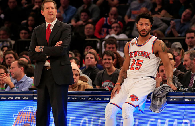 Derrick Rose waits to enter a game.