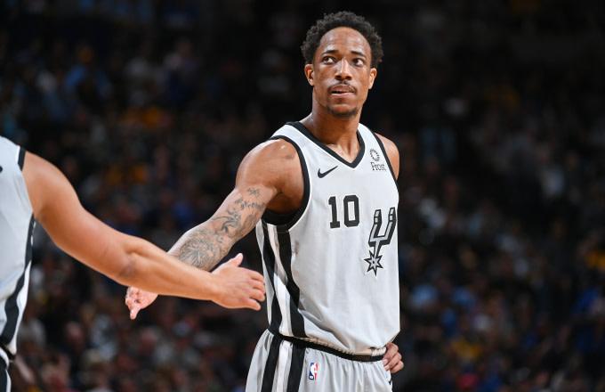DeMar DeRozan #10 of the San Antonio Spurs looks on