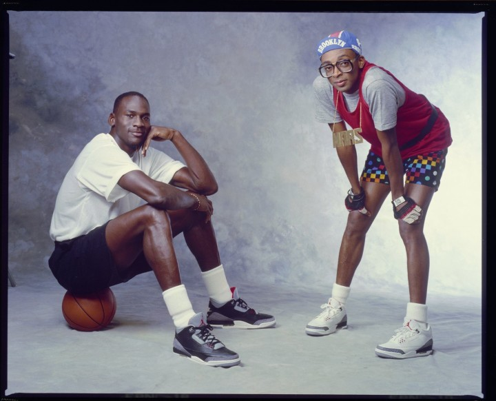 Michael Jordan and Spike Lee on the set of their first Nike commercial shoot.