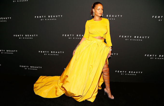 436bea5ae Rihanna s Yellow Fit at the Fenty Beauty Launch Was Pure Fire