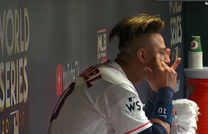 Yuli Gurriel makes racist gesture directed at Yu Darvish while in dugout.