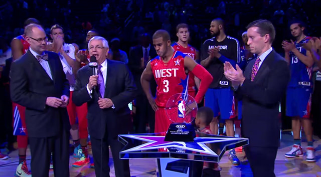 David Stern and Chris Paul during 2013 NBA All-Star Game