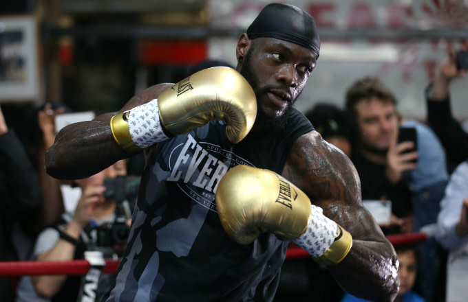 Deontay Wilder during a media work out at Gleason's Gym