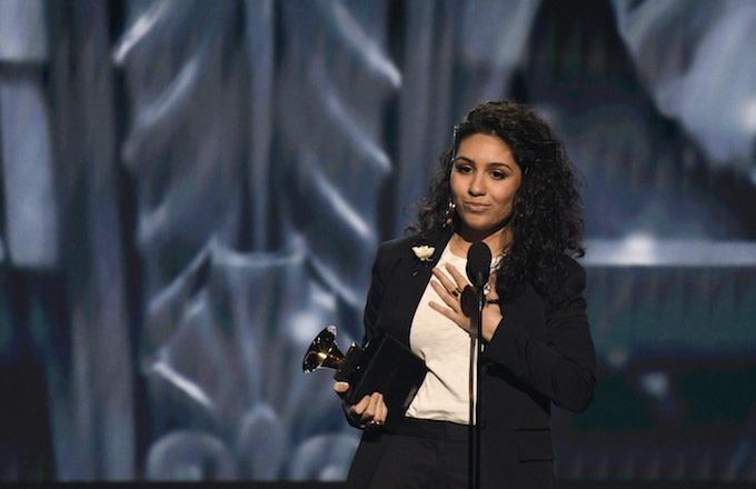 Alessia Cara receiving her Best New Artist Grammy.