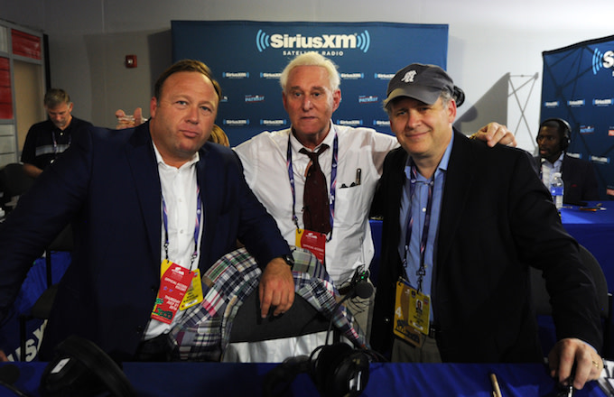 Alex Jones, Roger Stone, and Jonathan Alter