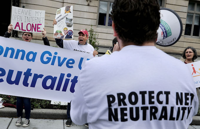 Net neutrality protest against Federal Communication Commission Chairman Ajit Pai