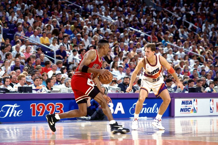 74eac00d4a3a6 Scottie Pippen in the 1993 NBA Finals. Scottie Pippen wearing the Nike Air  ...