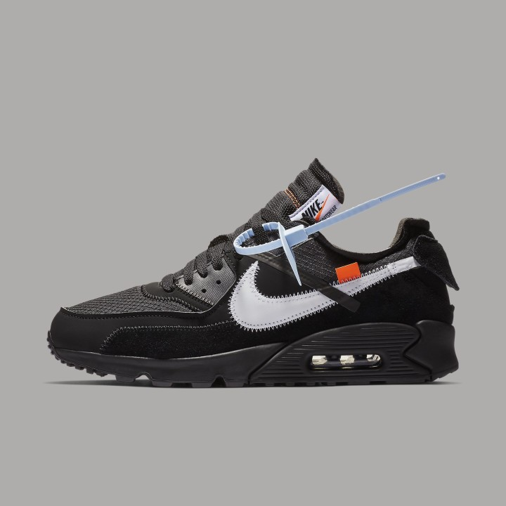 Off-White x Nike Air Max 90 Black Release Date AA7293-001 Profile
