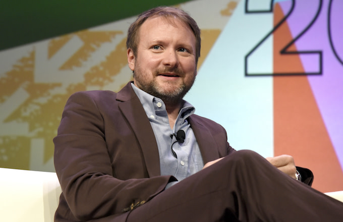 Rian Johnson speaks onstage at the Journey to Star Wars panel.