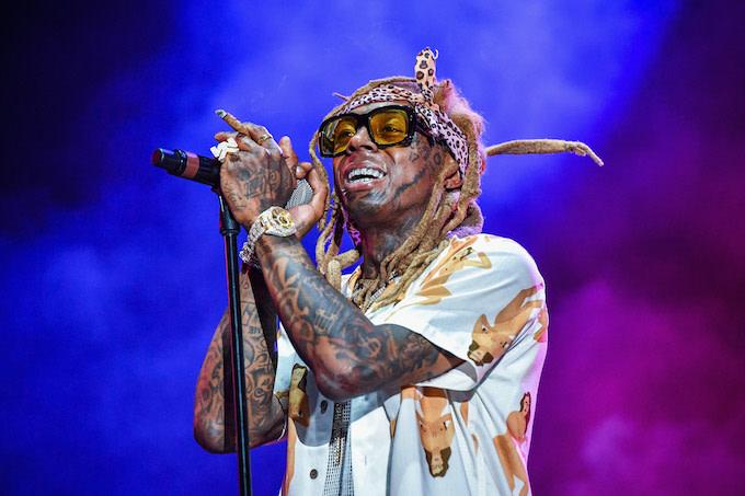 Lil Wayne performing in New Orleans