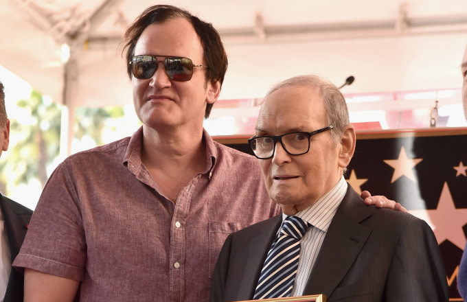 Director Quentin Tarantino and composer Ennio Morricone attend a ceremony honoring Ennio Morricone