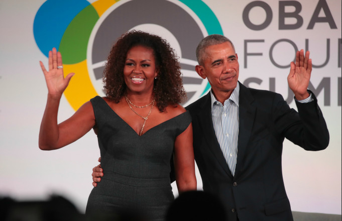 Former U.S. President Barack Obama and his wife Michelle