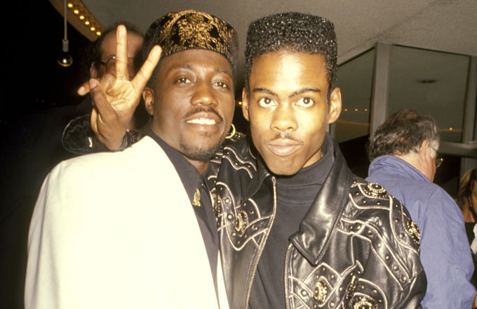 Wesley Snipes and Chris Rock at the premiere of 'New Jack City'