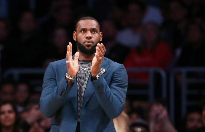 LeBron James of the Los Angeles Lakers looks on against the Cleveland Cavaliers