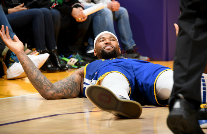 DeMarcus Cousins enjoys a laugh during the game against the Los Angeles Lakers