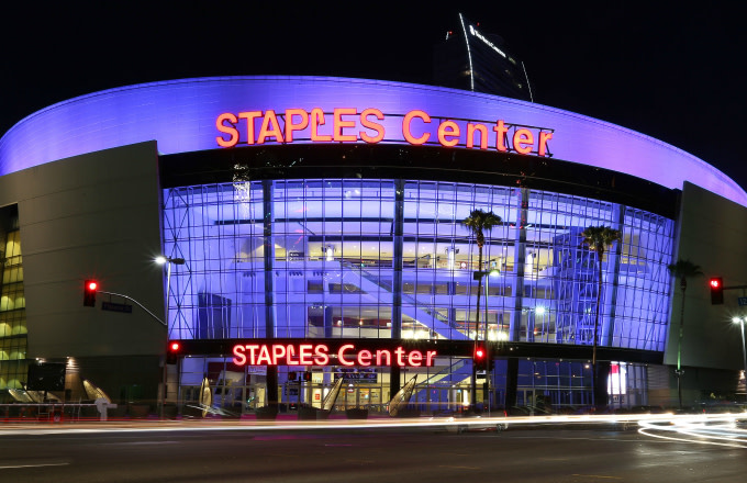 An exterior view of Staples Center in downtown Los Angeles