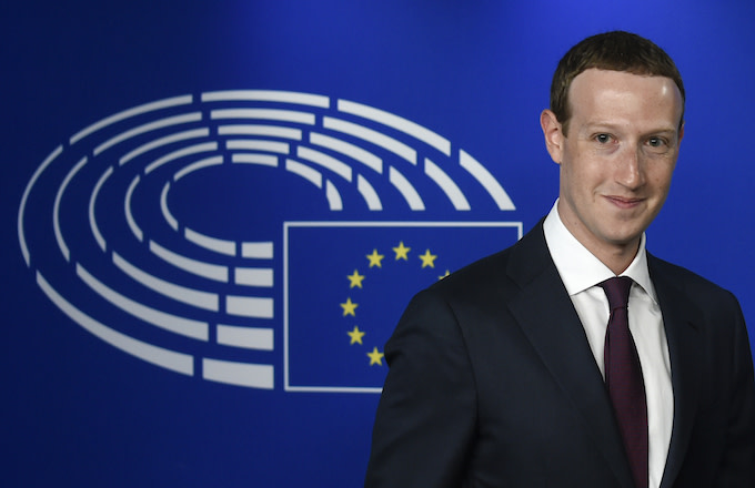 Mark Zuckerberg arrives at the European Parliament.