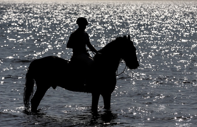 Silhouette of a Turkish Armed Forces' personnel on horseback by the sea in Bursa, Turkey.