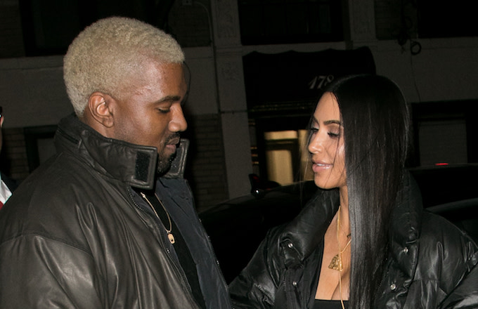Kanye West and wife Kim Kardashian West in New York.