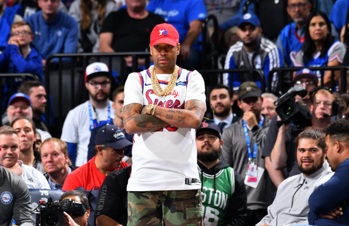 Allen Iverson, attends a game between the Boston Celtics and the Philadelphia 76ers