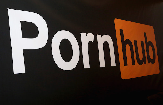 Pornhub logo is displayed at the company's booth during the 2018 AVN Adult Expo.