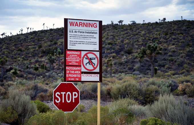 Signage displaying warnings outside of Area 51